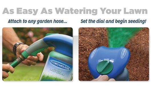 As Easy As Watering Your Lawn. Attatch to any garden hose... set the dial and begin seeding!